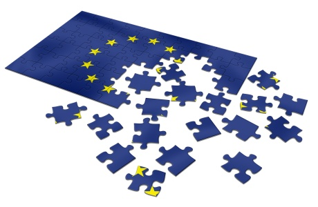 Unfinished European Union Flag puzzle